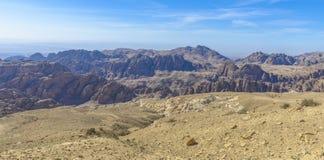 Mountains panorama near Petra in Jordan Royalty Free Stock Photo