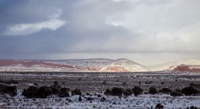 Mountains panorama with sky on the desert winter, New Mexico stock photo