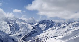 Mountains panorama. View from the ski slope. Royalty Free Stock Photo