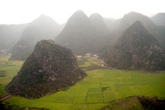 Mountains and pasture scenery in Wanfenglin,Guizhou in China. Royalty Free Stock Photos
