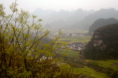 Mountains and pasture scenery in Wanfenglin,Guizhou in China. Stock Photo
