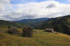 Mountains pasture and sheepfold. Sheepfold on the mountains pasture in Darmoxa village, Bistrita Romania Royalty Free Stock Photography
