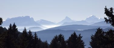 Mountains and peak in Savoy, France. View of snowed mountains and peak from the Semnoz, near Annecy, France Stock Image