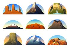 Mountains Peaks, landscape early in a daylight, big set. monument valley, matterhorn, roraima, fuji or uluru, vesuvius. Devils tower, everest or rainbow stock illustration