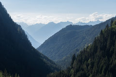 Mountains and peaks landscape. Kühtai glacier, natural environment. Hiking in the Stubai Alps. Sellrain valley, Tirol, Austria Royalty Free Stock Photo