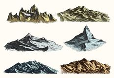 Mountains peaks set vintage, old engraving in hand drawh sketch style different versions and colors. T-shirt or poster Royalty Free Stock Photos