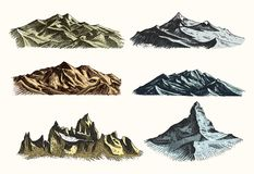 Mountains peaks set vintage, old engraving in hand drawh sketch style different versions and colors. T-shirt or poster Stock Image