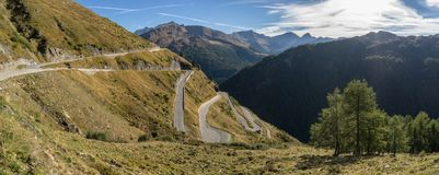 Mountains, peaks and trees landscape, natural environment. Timmelsjoch High Alpine Road. Passo del Rombo, the highest pass of the Eastern Alps. Ötztal stock photos