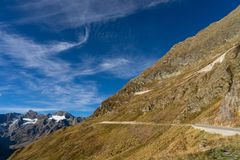 Mountains, peaks and trees landscape, natural environment. Timmelsjoch High Alpine Road. Passo del Rombo, the highest pass of the Eastern Alps. Ötztal stock photo
