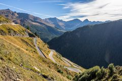 Mountains, peaks and trees landscape, natural environment. Timmelsjoch High Alpine Road. Timmelsjoch High Alpine Road landscape. Mountains and peaks covered with royalty free stock photo