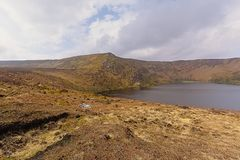 Mountains and peatland around Lough Bray lower lake in Wicklow mountains. Mountains and peatland around  Lough Bray lower lake in Wicklow mountains national park royalty free stock images