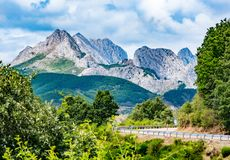 Mountains of Picos de Europa. Cantabrian, Riano, province of Leon. Castile and Leon, northern Spain.  royalty free stock photography