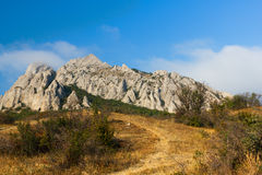 Mountains. Pile of limestone rocks Syuryu-Kai, Karadag, Koktebel, Crimea royalty free stock photos