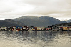 Mountains and port houses of Nanortalik, Greenland Stock Images