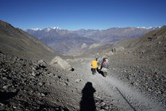 The mountains and porters in Annapurana Circuit. Trekking in Thorung-La Pass,Annapurana Circuit,Pokhara,Nepal.all photos are original and with no photoshop stock photography