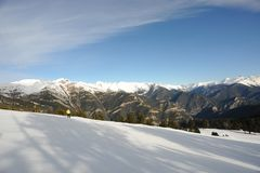The mountains of the Principality of Andorra, the eastern Pyrenees, Europe, the sector of skiing Pal. Winter landscape - mountains in the Principality of Royalty Free Stock Photos