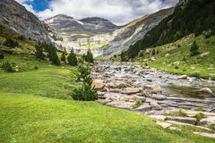 Mountains in the Pyrenees, Ordesa Valley National Park, Aragon, Royalty Free Stock Images