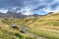 Mountains of the Pyrenees. Summer day in the Pyrenees between France and Spain stock photo