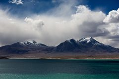 Mountains in Qinghai-Tibet Plateau. Cloudy Stock Photo