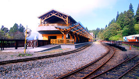 The mountains of the railway station. Taiwan、alishan、The railway station、The railway、The platform、The forest、The scenery Stock Images