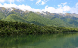 Mountains range on Rotoiti Lake Stock Photography