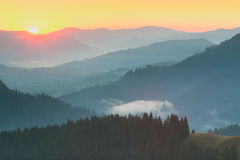 Mountains Range  - sunrise with real sun Stock Photography