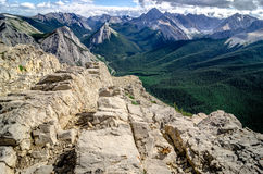 Mountains range view in Jasper NP with chipmunk in foreground. Alberta, Canada Royalty Free Stock Photo