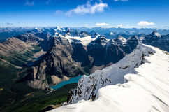 Mountains range view from Mt Temple with Moraine lake, Canada Stock Photography