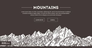 Mountains ranges. Nature sketch. Spiky mountain landscape sketch hand drawing, in engraving etching style, for extreme Royalty Free Stock Photo