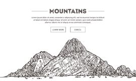 Mountains ranges. Nature sketch. Spiky mountain landscape sketch hand drawing, in engraving etching style, for extreme Stock Photography