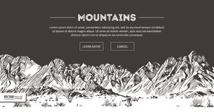 Mountains ranges. Nature sketch. Spiky mountain landscape sketch hand drawing, in engraving etching style, for extreme Stock Photo