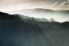 Mountains and rays of light. For a mistic atmosphere Royalty Free Stock Photography