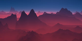Mountains in the red haze. Stock Image