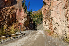 Mountains red road autumn gate Stock Photo