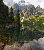 Mountains reflected in lake water surface stock photo