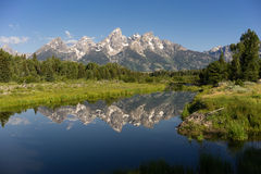 Mountains Reflected Smooth Water Grand Teton National Park Stock Photo