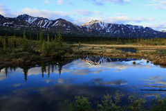 Mountains reflecting along the Denali Highway Stock Photos