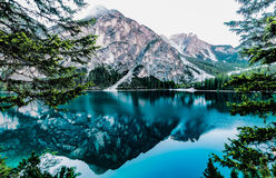Mountains reflecting in alpine lake