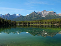Mountains Reflecting in Lake - Banff National Park Royalty Free Stock Images