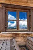 Mountains reflecting in the window Stock Images