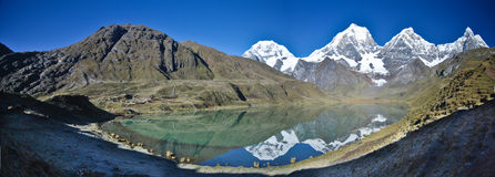 Mountains reflection on lake. Snow mountains reflection on a blue lake in the Andean ridge in Peru Royalty Free Stock Images