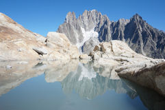 Mountains` reflection stock photo