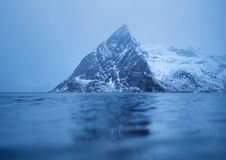Mountains reflection on water surface. Beautiful natural landscape in the Norway Stock Image