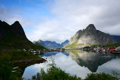 Mountains reflections. The bay of Reine in the lofoten islands reflected in the sea Stock Images