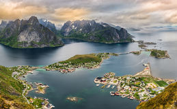 Mountains and  Reine in Lofoten islands, Norway Stock Images