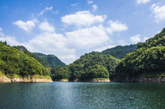 The mountains and reservoir scenery with blue sky Stock Image