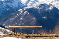 Mountains rest bench Stock Image