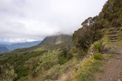 Mountains in Reunion Island National Park. On a cloudy day Royalty Free Stock Photos
