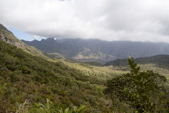 Mountains in Reunion Island National Park. On a cloudy day Royalty Free Stock Images