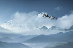 Mountains ridge in the clouds. Natural mountain landscape. Mountains landscape as a background. Travel and adventure background stock images